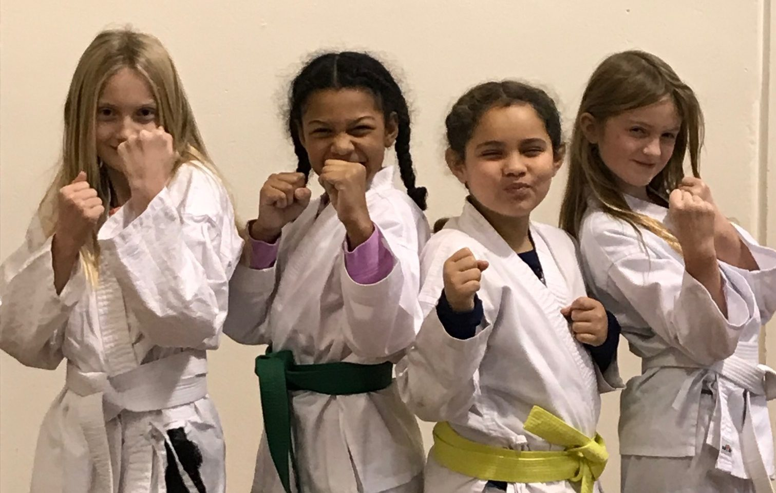Strong girls practice martial arts
